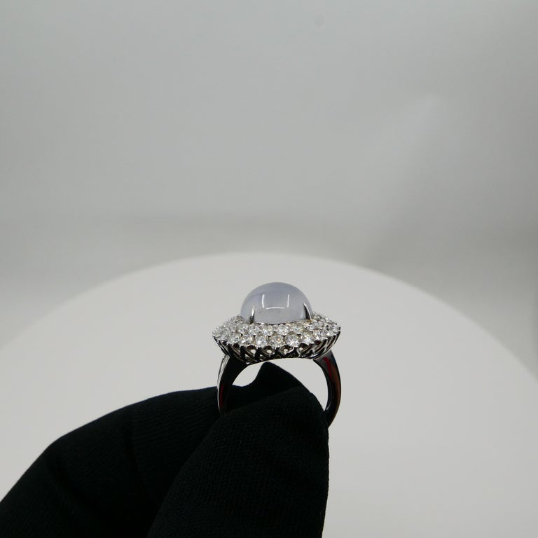 Important Certified Natural Type A Icy Jade and Diamond Cocktail Ring For Sale 8