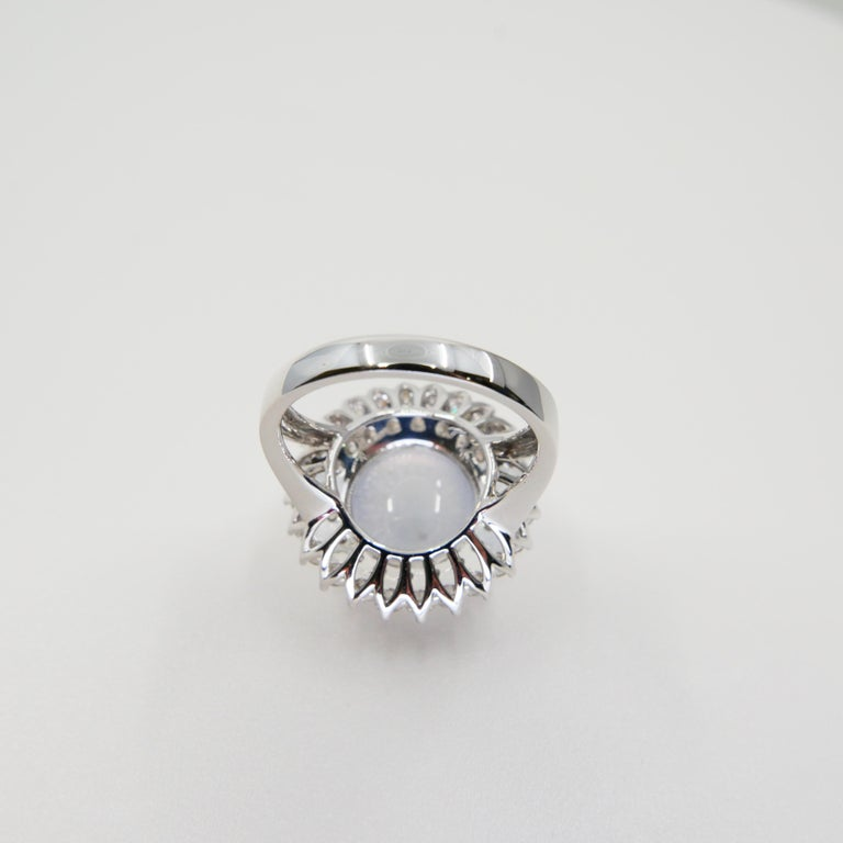 Important Certified Natural Type A Icy Jade and Diamond Cocktail Ring For Sale 11