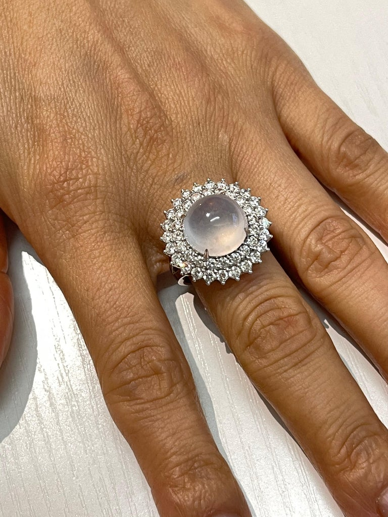 Women's Important Certified Natural Type A Icy Jade and Diamond Cocktail Ring For Sale