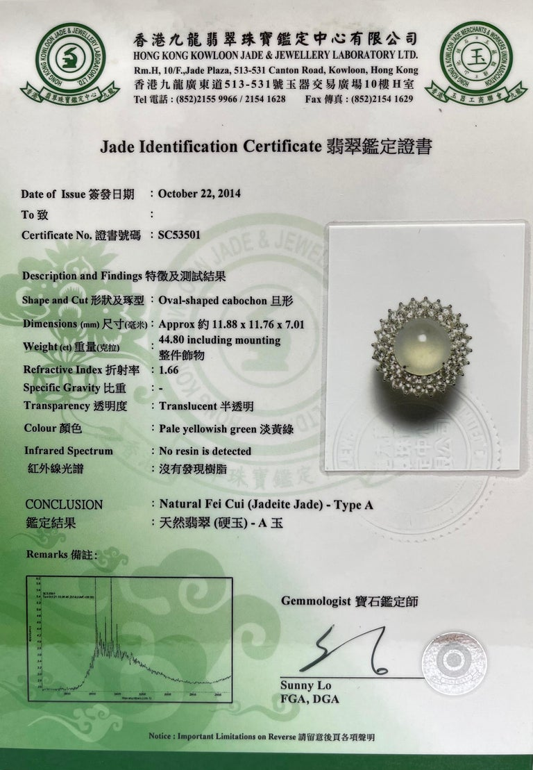 Important Certified Natural Type A Icy Jade and Diamond Cocktail Ring For Sale 12