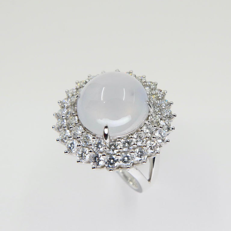 Cabochon Important Certified Natural Type A Icy Jade and Diamond Cocktail Ring For Sale