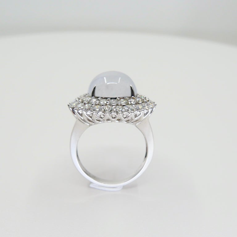 Important Certified Natural Type A Icy Jade and Diamond Cocktail Ring For Sale 1