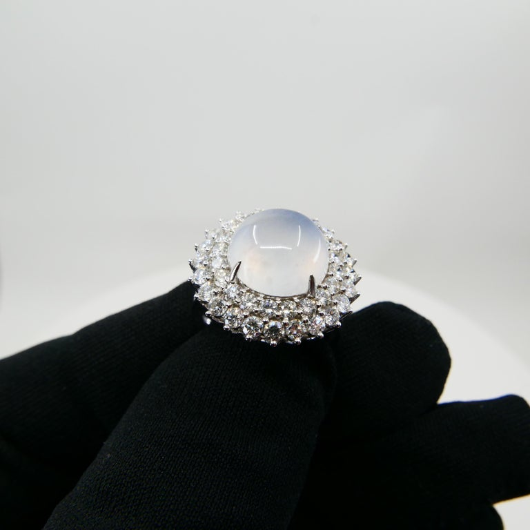Important Certified Natural Type A Icy Jade and Diamond Cocktail Ring For Sale 2