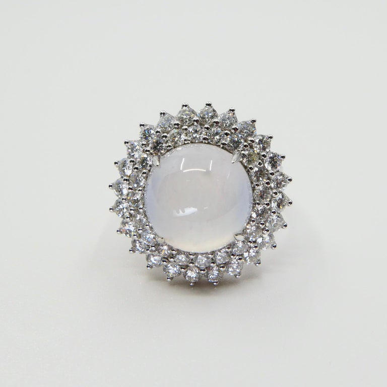 Important Certified Natural Type A Icy Jade and Diamond Cocktail Ring For Sale 3