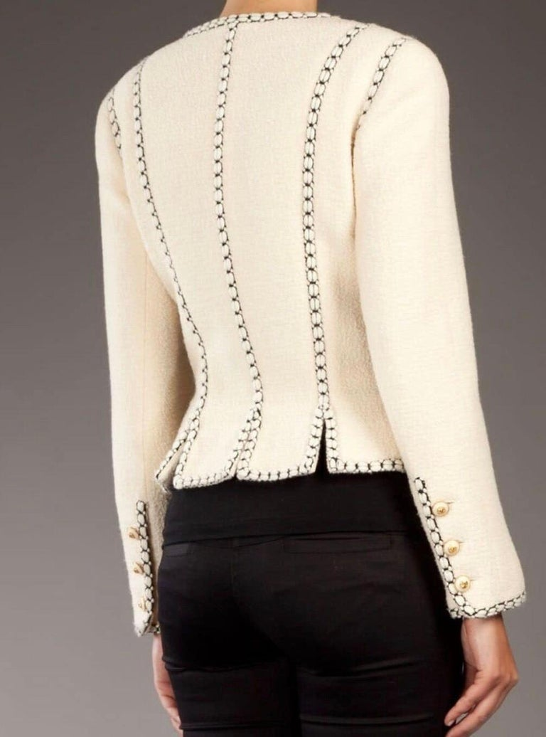 Women's Important Chanel Ivory CC Logo Signature Jacket Blazer For Sale