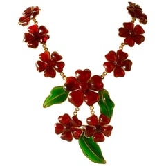"Important Chanel Red ""Camellia"" Pate de Verre Statement Necklace"