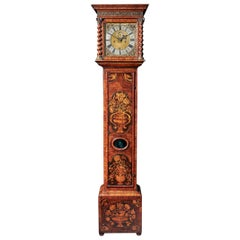 Important Charles II 17th Century Princes Wood and Marquetry Longcase Clock