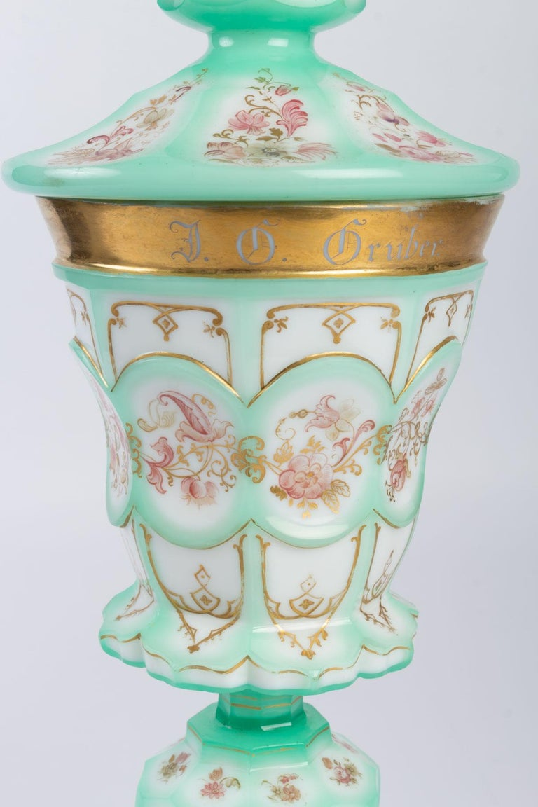 Important Charles X goblet in enameled and gilded opaline, 19th century  Measures: H 37 cm, D 14 cm.