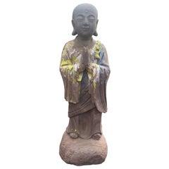 Important Chinese Antique Hand Carved Stone Figure of Joyful Ananda