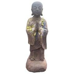 Chinese Antique Hand Carved Stone Figure of Joyful Ananda