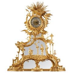 """Important """"Chinese"""" Giltwood Clock"""