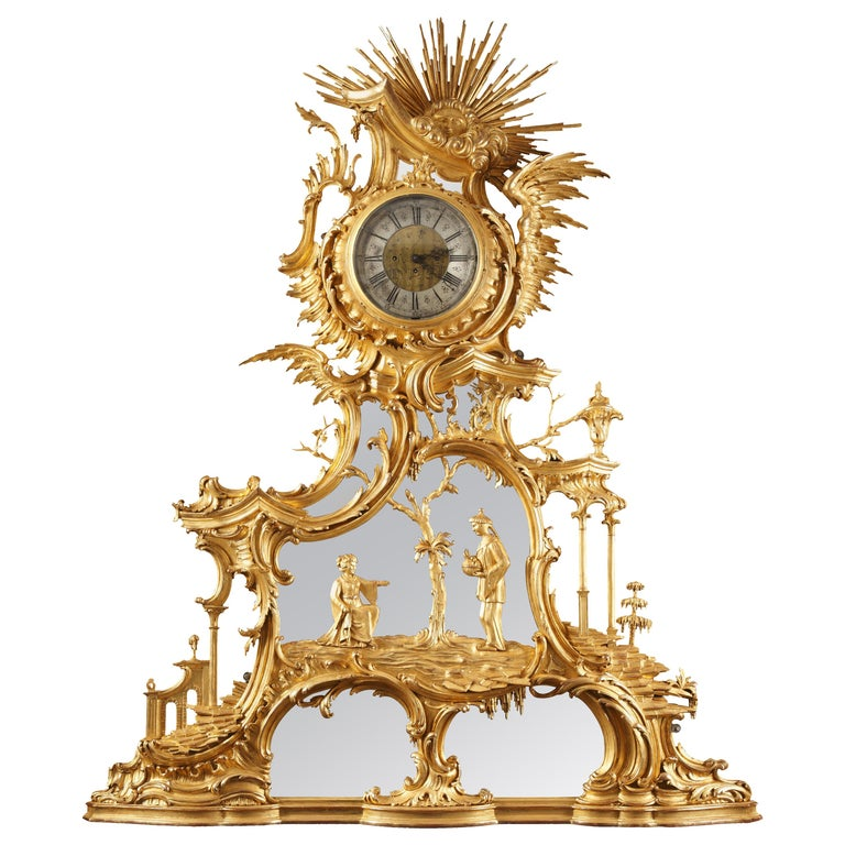 """Impressive """"Chinese"""" Giltwood Clock For Sale"""