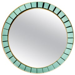 Important Circular Hand-Cut Faceted Crystal Mirror by Cristal Art, Italy, 1950s