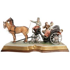 Important Coach Porcelaine Horse, Early 20th Century, Fun Scene