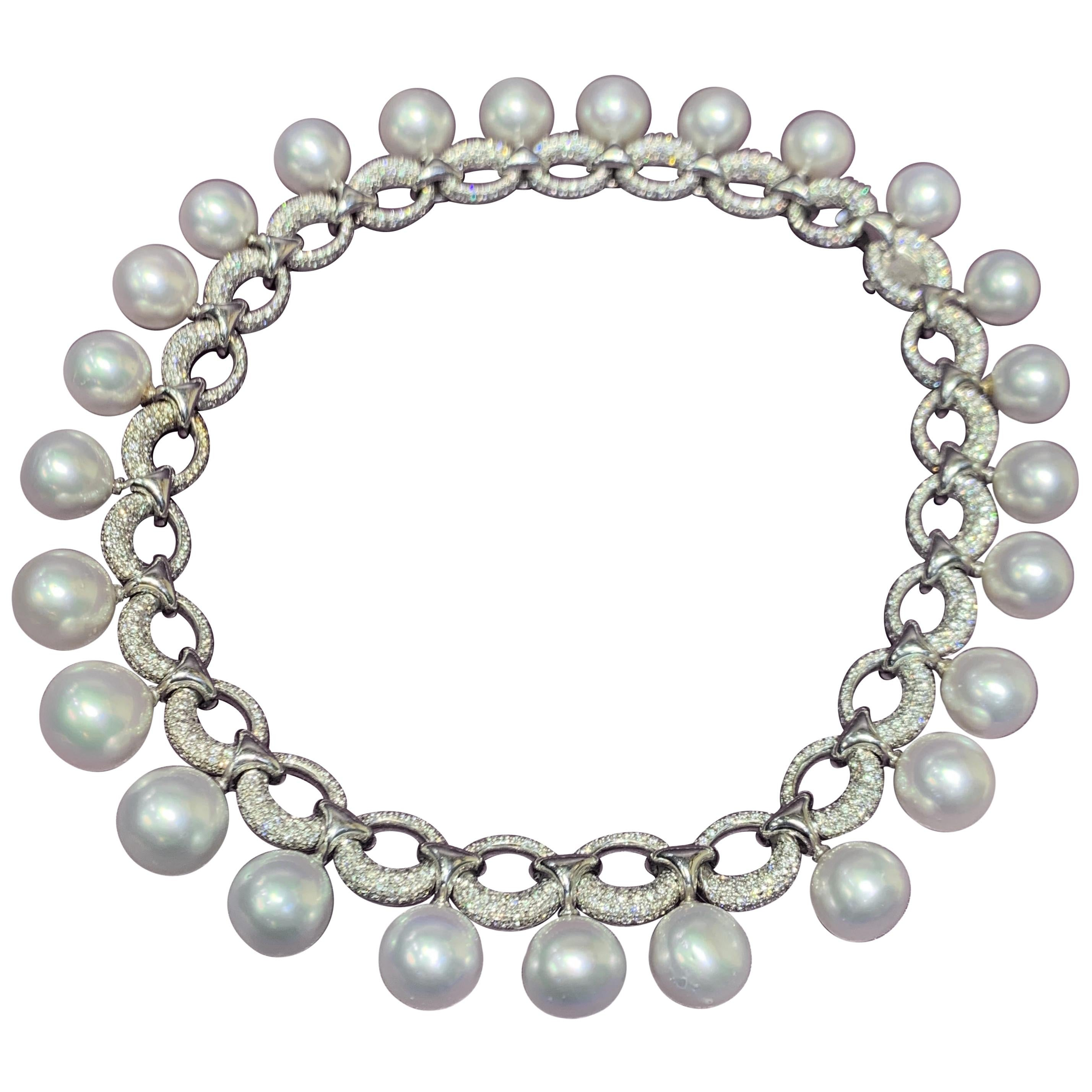 Important Cultured Pearl and Diamond Link Necklace