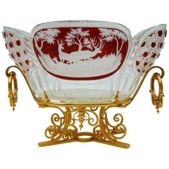 Important Cup in Gilt Bronze and Cut Crystal