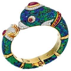 Important David Webb Azurmalachite Dolphin Bracelet