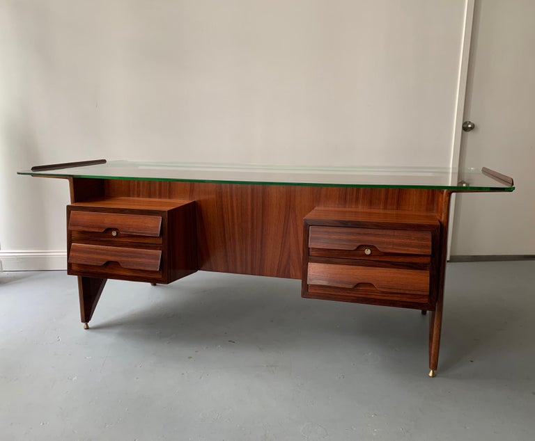 Brass Important Desk by Gio Ponti For Sale