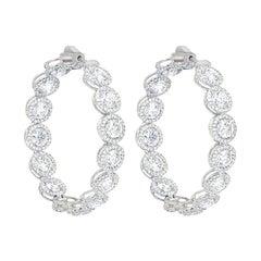 Important Diamond Gold Hoop Earrings 'Each Stone 0.40 Carat'