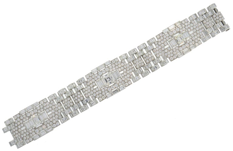 Women's Art Deco Revival Diamond Platinum Bracelet, 1960s For Sale