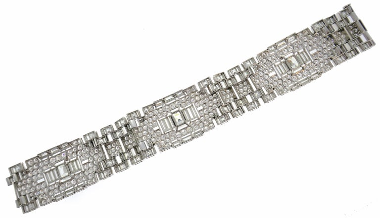 Art Deco Revival Diamond Platinum Bracelet, 1960s For Sale 3