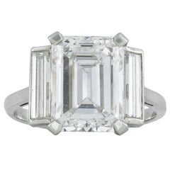 GIA Certified 4.12 Carat Emerald-Cut Diamond Ring