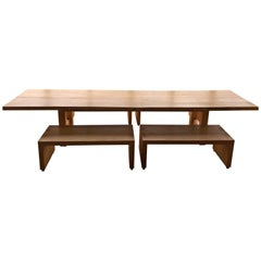 Important Dining Table with Four Benches, Wood