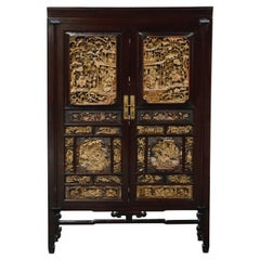 Important Documented Qing 19th Century Chinese Deep Relief Carved Cabinet