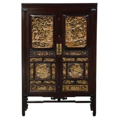 Important Documented Qing Dynasty Chinese Deep Relief Rosewood Cabinet