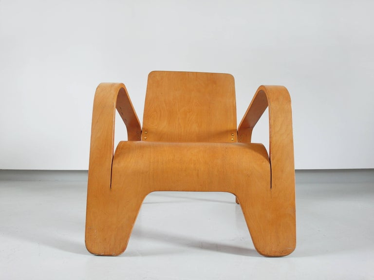 Important Dutch Modernist Lawo Lounge Chair by Han Pieck for Lawo Ommen, 1946 For Sale 12