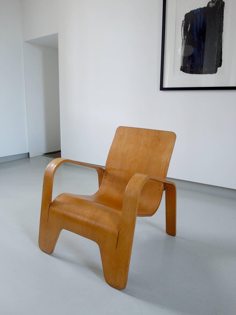 Important Dutch Modernist Lawo Lounge Chair by Han Pieck for Lawo Ommen, 1946 For Sale 13
