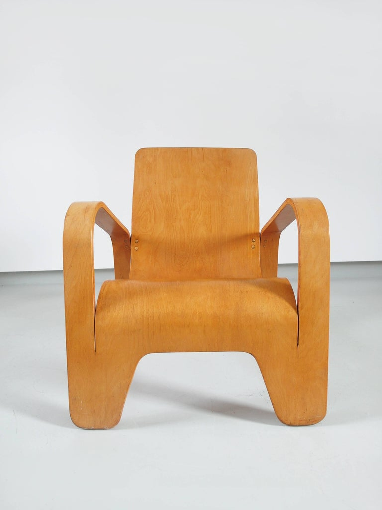 Birch Important Dutch Modernist Lawo Lounge Chair by Han Pieck for Lawo Ommen, 1946 For Sale