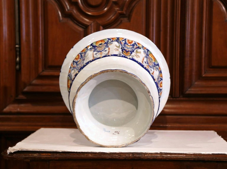 Important Early 20th Century, French Hand-Painted Faience Planter from Normandy For Sale 2