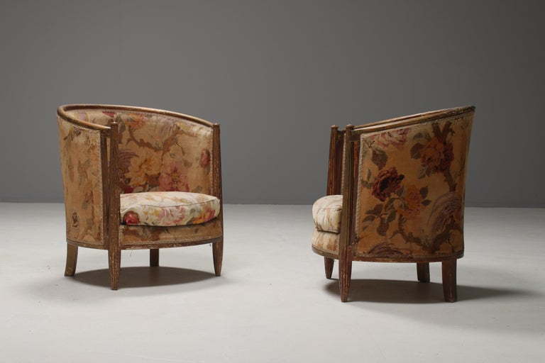 Important Early and Rare Gilded Paul Follot Art Nouveau Club Chairs, 1911 For Sale 4