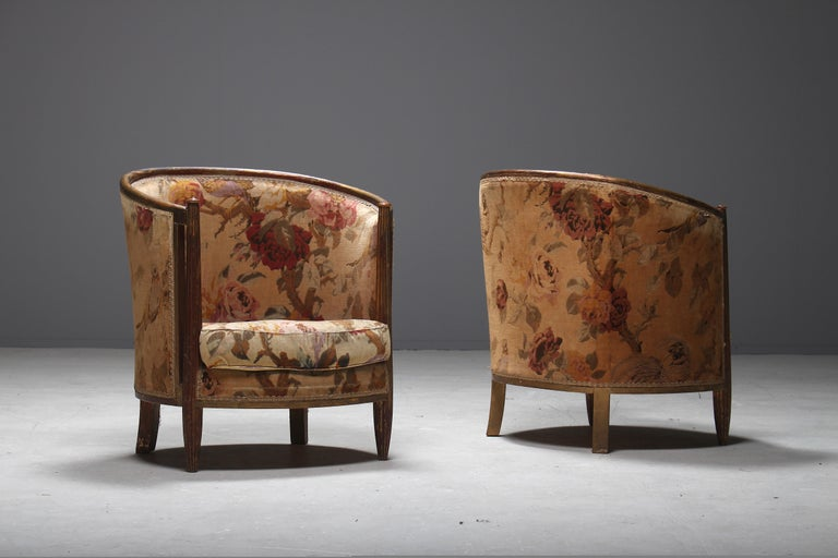 French Important Early and Rare Gilded Paul Follot Art Nouveau Club Chairs, 1911 For Sale