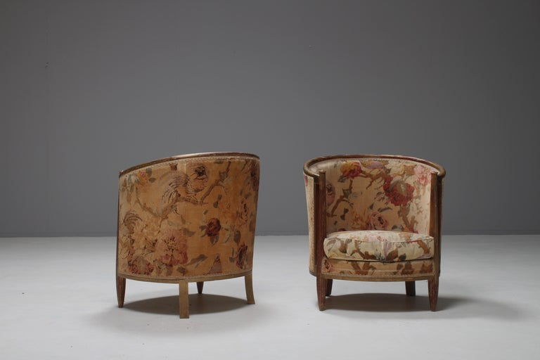 Important Early and Rare Gilded Paul Follot Art Nouveau Club Chairs, 1911 In Good Condition For Sale In Winterswijk, NL