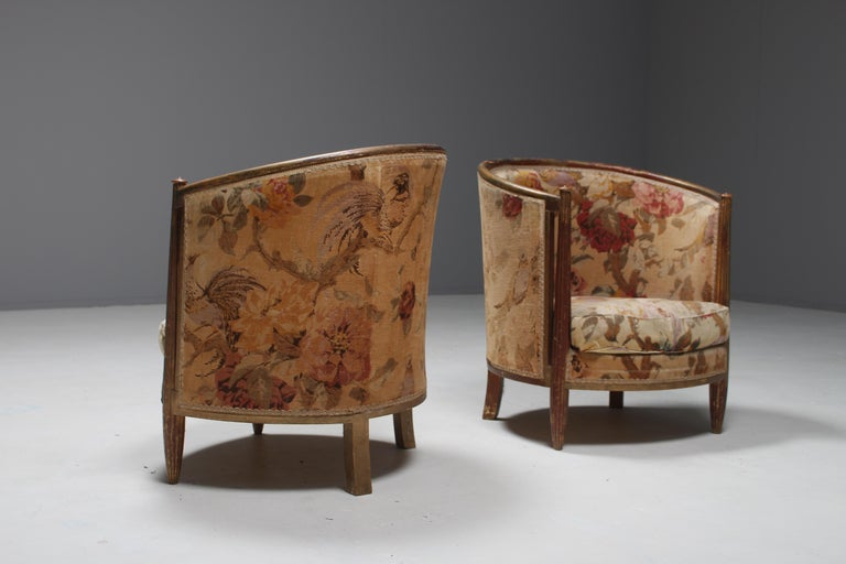 Early 20th Century Important Early and Rare Gilded Paul Follot Art Nouveau Club Chairs, 1911 For Sale