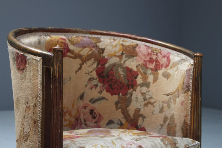 Fabric Important Early and Rare Gilded Paul Follot Art Nouveau Club Chairs, 1911 For Sale