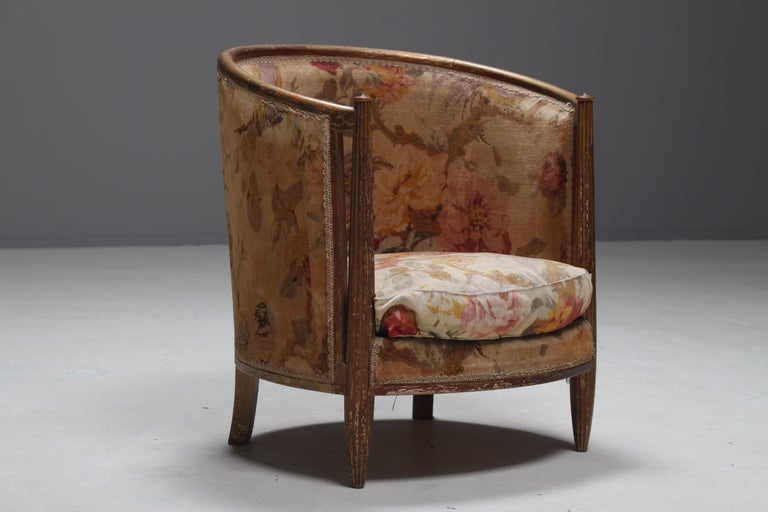 Important Early and Rare Gilded Paul Follot Art Nouveau Club Chairs, 1911 For Sale 2