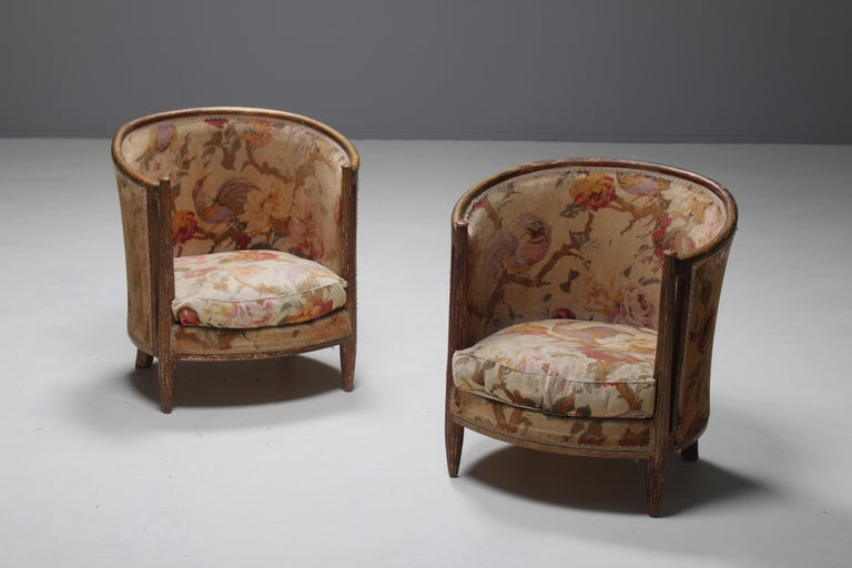 Important Early and Rare Gilded Paul Follot Art Nouveau Club Chairs, 1911 For Sale 3