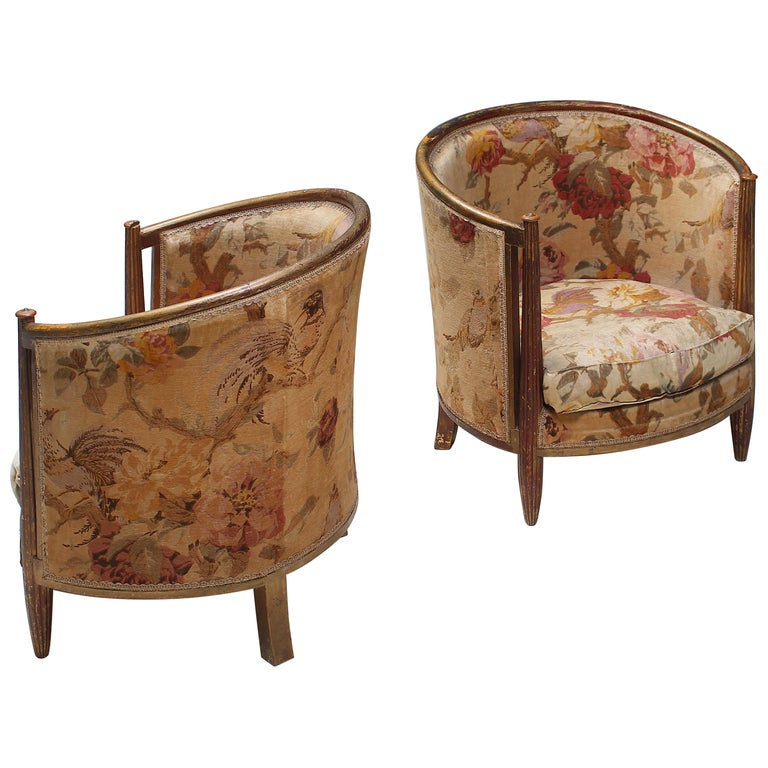 Important Early and Rare Gilded Paul Follot Art Nouveau Club Chairs, 1911 For Sale