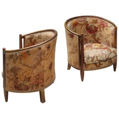 Important Early and Rare Gilded Paul Follot Art Nouveau Club Chairs, 1911