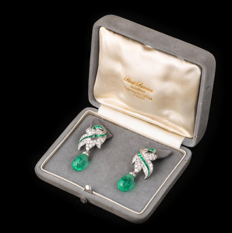 Art Deco Rene Boivin Certified Important Emerald and Diamond Earrings For Sale