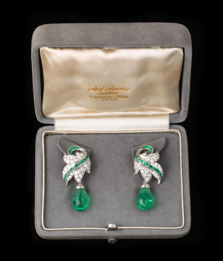 Rene Boivin Certified Important Emerald and Diamond Earrings In Excellent Condition For Sale In New York, NY