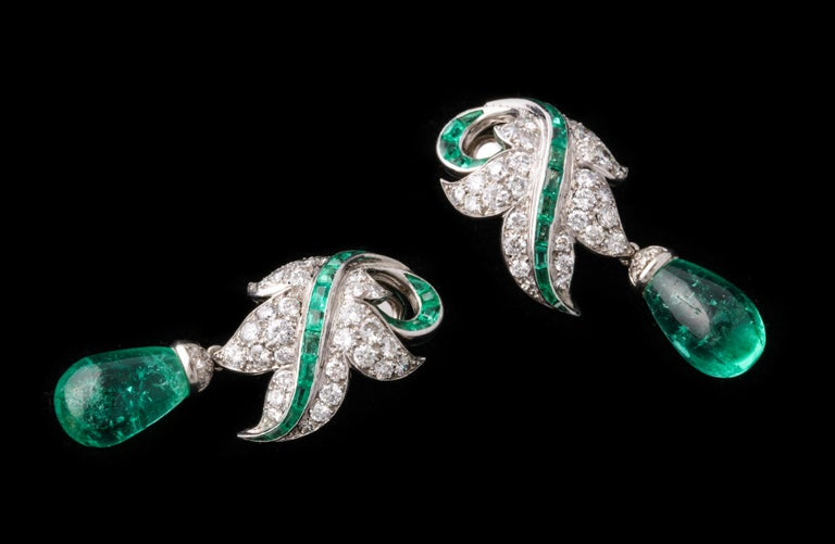 Women's or Men's Rene Boivin Certified Important Emerald and Diamond Earrings For Sale