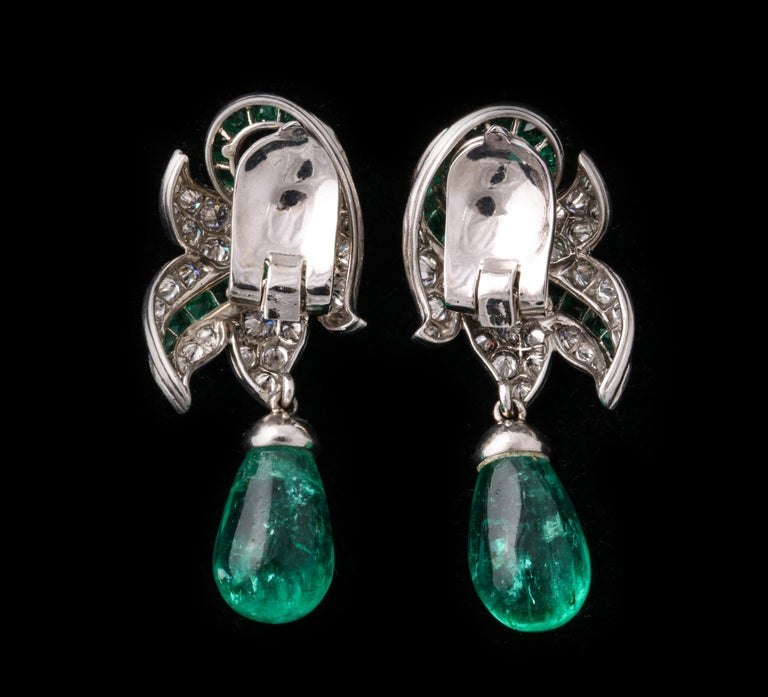 Rene Boivin Certified Important Emerald and Diamond Earrings For Sale 1