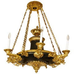Important Empire Ormolu Six Arm Chandelier