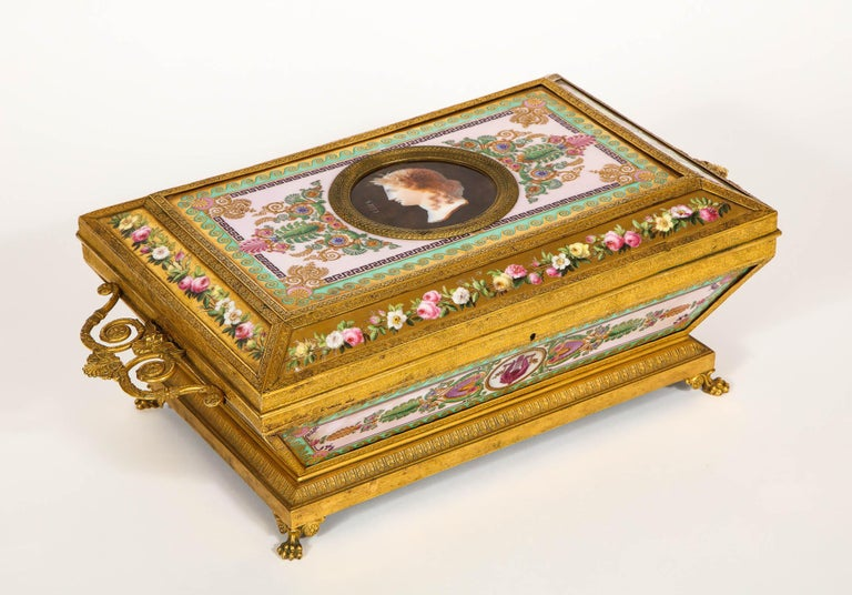 French Important Empire Period Paris Porcelain & Ormolu-Mounted Casket/Box/Jewelry Box For Sale