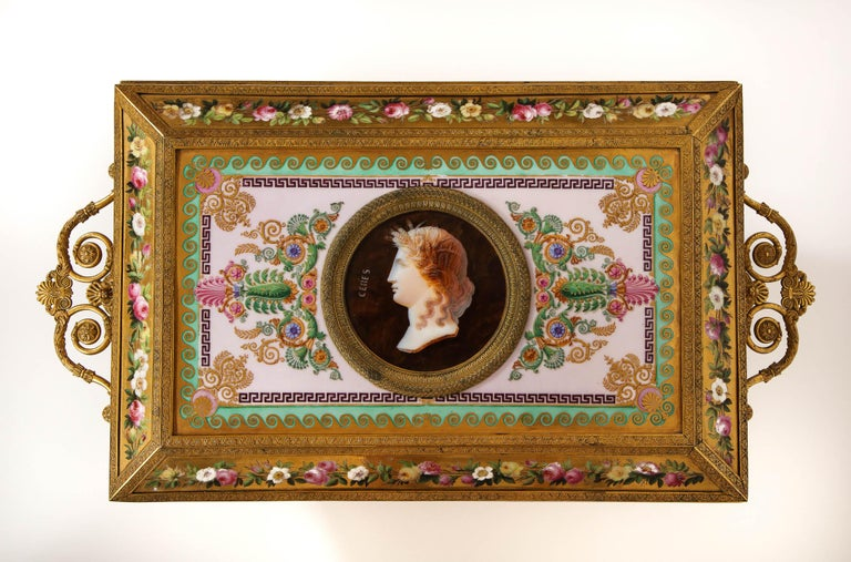Hand-Painted Important Empire Period Paris Porcelain & Ormolu-Mounted Casket/Box/Jewelry Box For Sale