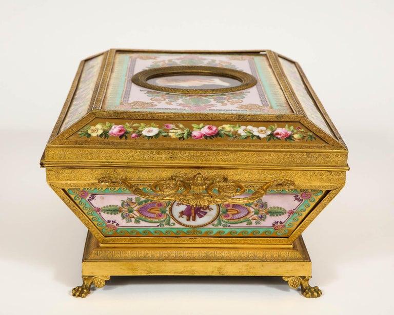 Bronze Important Empire Period Paris Porcelain & Ormolu-Mounted Casket/Box/Jewelry Box For Sale